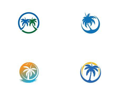 Illustration pour Palm tree set  logo vector illustration design - image libre de droit