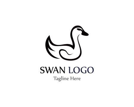 Illustration pour Swan logo simple icon template vector illustration creative design - image libre de droit