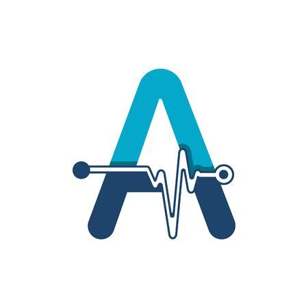 Illustration pour Letter A with Pulse Logo Vector Element Symbol Template - image libre de droit