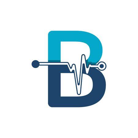Illustration pour Letter B with Pulse Logo Vector Element Symbol Template - image libre de droit