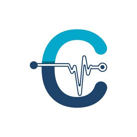 Illustration pour Letter C with Pulse Logo Vector Element Symbol Template - image libre de droit