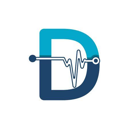 Illustration pour Letter D with Pulse Logo Vector Element Symbol Template - image libre de droit