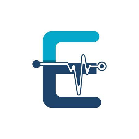 Illustration pour Letter E with Pulse Logo Vector Element Symbol Template - image libre de droit