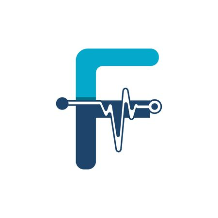 Illustration pour Letter F with Pulse Logo Vector Element Symbol Template - image libre de droit