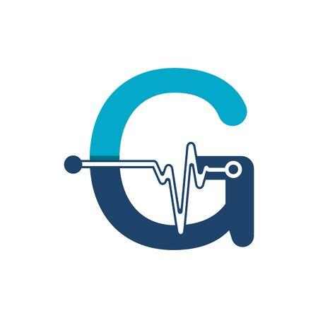 Illustration pour Letter G with Pulse Logo Vector Element Symbol Template - image libre de droit