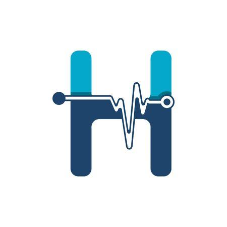 Illustration pour Letter H with Pulse Logo Vector Element Symbol Template - image libre de droit
