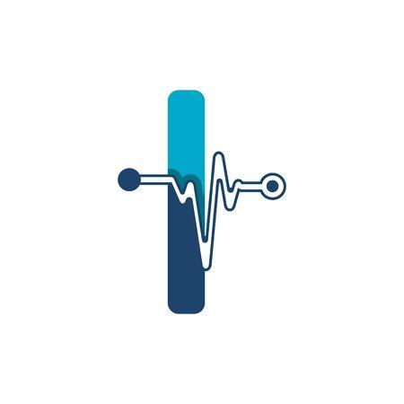 Illustration pour Letter I with Pulse Logo Vector Element Symbol Template - image libre de droit