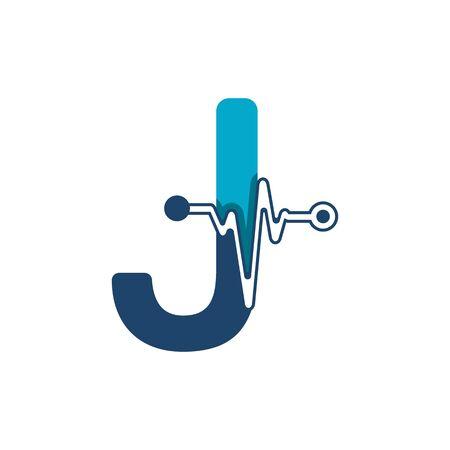 Illustration pour Letter J with Pulse Logo Vector Element Symbol Template - image libre de droit