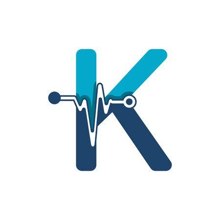 Illustration pour Letter K with Pulse Logo Vector Element Symbol Template - image libre de droit