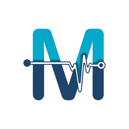 Illustration pour Letter M with Pulse Logo Vector Element Symbol Template - image libre de droit