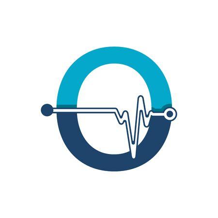 Illustration pour Letter O with Pulse Logo Vector Element Symbol Template - image libre de droit
