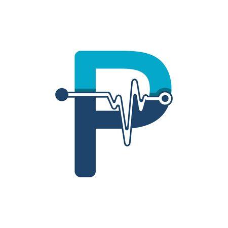 Illustration pour Letter P with Pulse Logo Vector Element Symbol Template - image libre de droit