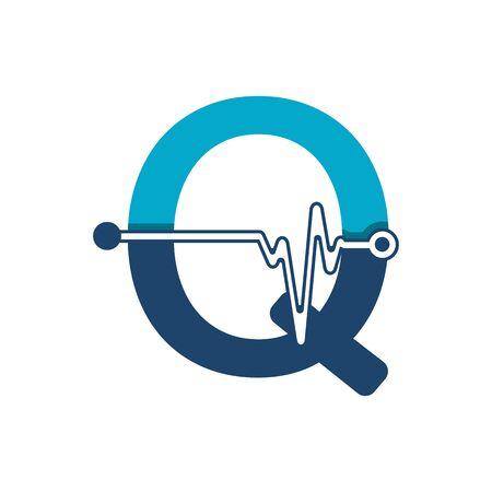 Illustration pour Letter Q with Pulse Logo Vector Element Symbol Template - image libre de droit