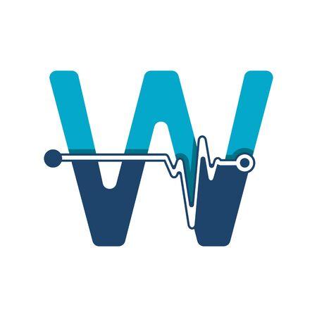 Illustration pour Letter W with Pulse Logo Vector Element Symbol Template - image libre de droit