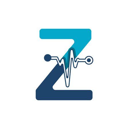 Illustration pour Letter Z with Pulse Logo Vector Element Symbol Template - image libre de droit