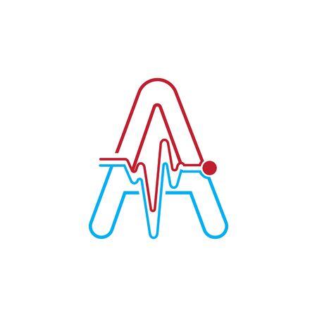 Illustration pour Letter A with Pulse line Logo Vector Element Symbol Template - image libre de droit