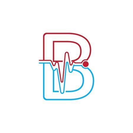 Illustration pour Letter B with Pulse line Logo Vector Element Symbol Template - image libre de droit