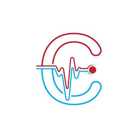 Illustration pour Letter C with Pulse line Logo Vector Element Symbol Template - image libre de droit