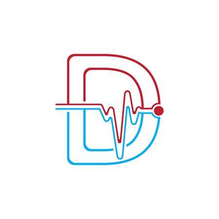Illustration pour Letter D with Pulse line Logo Vector Element Symbol Template - image libre de droit