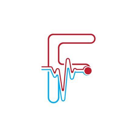 Illustration pour Letter F with Pulse line Logo Vector Element Symbol Template - image libre de droit