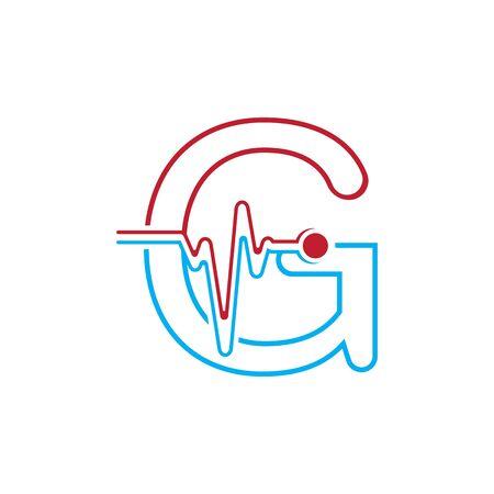 Illustration pour Letter G with Pulse line Logo Vector Element Symbol Template - image libre de droit