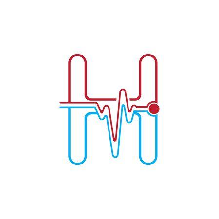 Illustration pour Letter H with Pulse line Logo Vector Element Symbol Template - image libre de droit