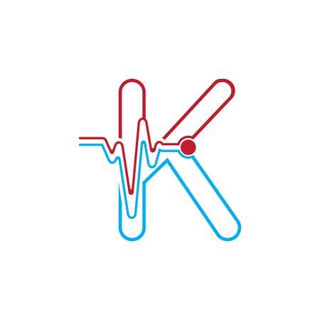 Illustration pour Letter k with Pulse line Logo Vector Element Symbol Template - image libre de droit