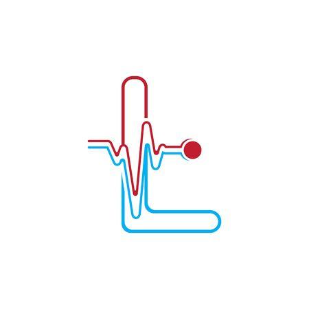 Illustration pour Letter L with Pulse line Logo Vector Element Symbol Template - image libre de droit