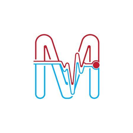 Illustration pour Letter M with Pulse line Logo Vector Element Symbol Template - image libre de droit