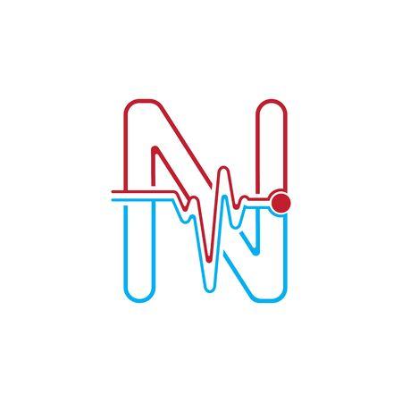 Illustration pour Letter N with Pulse line Logo Vector Element Symbol Template - image libre de droit