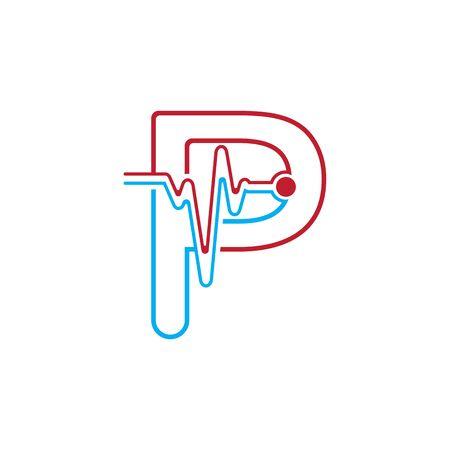 Illustration pour Letter P with Pulse line Logo Vector Element Symbol Template - image libre de droit