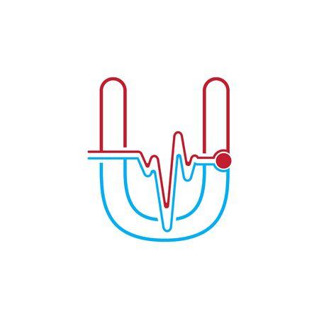 Illustration pour Letter U with Pulse line Logo Vector Element Symbol Template - image libre de droit