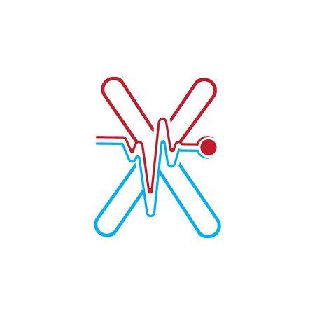 Illustration pour Letter X with Pulse line Logo Vector Element Symbol Template - image libre de droit