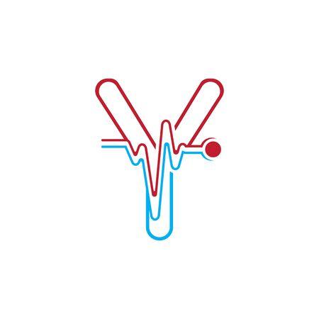 Illustration pour Letter Y with Pulse line Logo Vector Element Symbol Template - image libre de droit