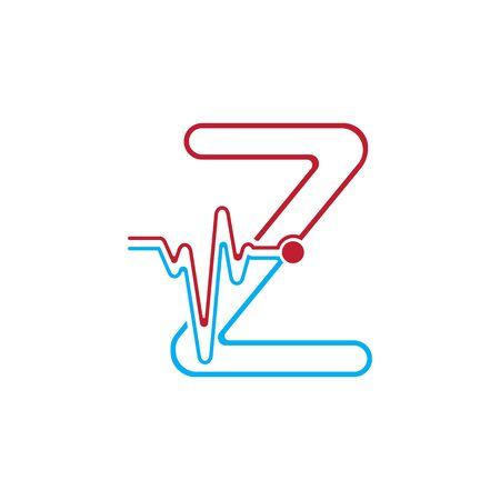 Illustration pour Letter Z with Pulse line Logo Vector Element Symbol Template - image libre de droit