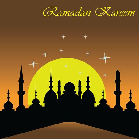 Illustration pour Happy Ramadan kareem islamic design with mosque and moon holy. vector illustration - image libre de droit