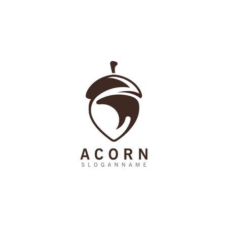 Illustration pour Acorn OAK inspiration simple logo ilustration vector icon template - image libre de droit