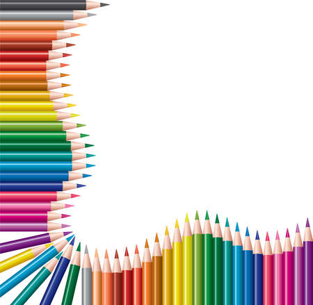 Foto de vector frame of colored pencils - Imagen libre de derechos