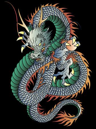 Illustration pour Japanese style dragon illustration on black background. - image libre de droit