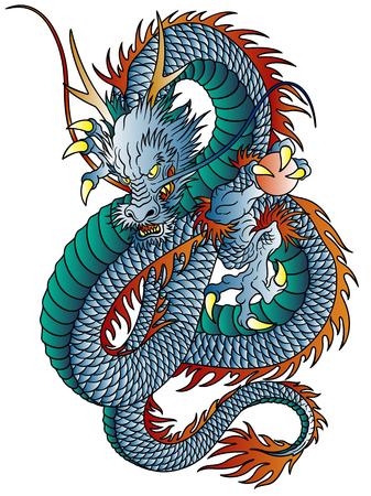Japanese style dragon illustration isolated on white.