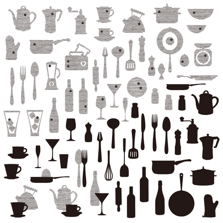 Illustration for The pattern of the kitchen utensil, I drew wine and a kitchen utensil abstractly, - Royalty Free Image