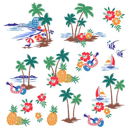 Illustration for Hawaiian Shore scenery illustration - Royalty Free Image