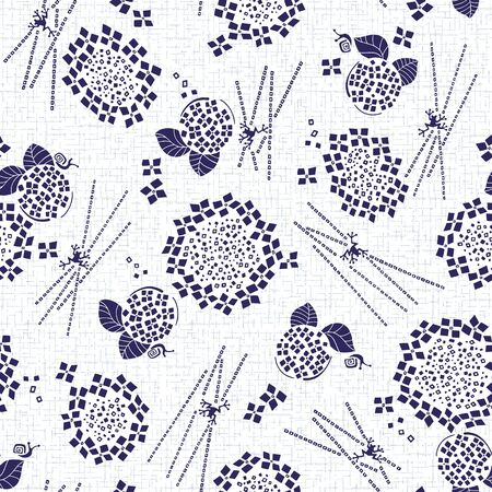 Illustration pour Abstract Japanese style hydrangea pattern, - image libre de droit