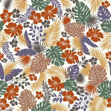Illustration pour Tropical Plant Seams Pattern Illustration I Designed a Dramatic Plant, This Picture Is Seamless, It Is a Vector Work - image libre de droit