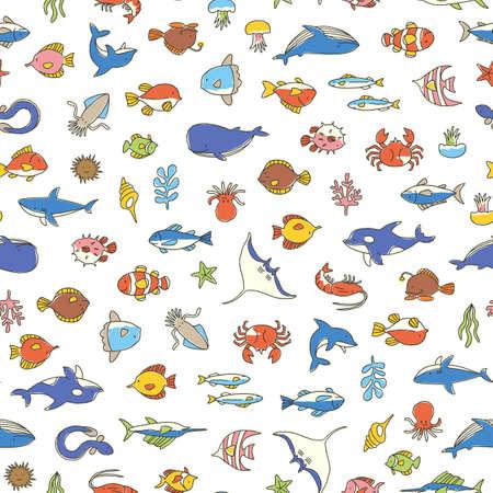 Illustration pour Seamless pattern of a pretty fish, I designed various fish cutely, - image libre de droit