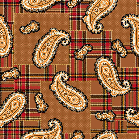 Rustic paisley and check patchwork pattern,