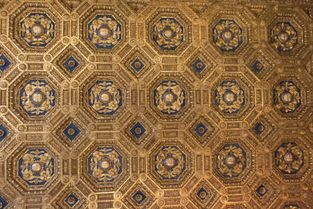 Italy, Florence - May 18 2017: the view of the carved coffer ceiling of the Sala dell'Udienza in the Palazzo Vecchio on May 18 2017 in Florence, Italy.