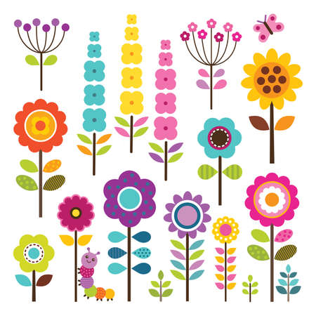 Vector set of retro flowers in pretty spring colors with caterpillar and butterfly  Isolated on white - includes clipping paths