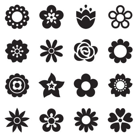 Illustration pour Set of flat flower icons in silhouette isolated on white. Simple retro designs in black and white. Seamless background pattern for gift wrapping paper, textiles, wallpaper. - image libre de droit