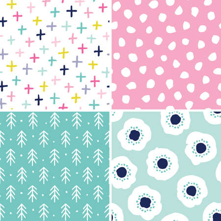 Illustration pour Vector set of 4 seamless abstract backgrounds in pink and mint. Minimal scandinavian style designs for girls, baby shower, Birthday, scrapbook, cards, textiles, gift wrapping paper, surface textures. - image libre de droit